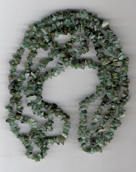 Emerald chip beads 36''