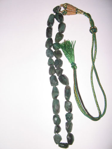 Emerald Faceted Tumble 15""