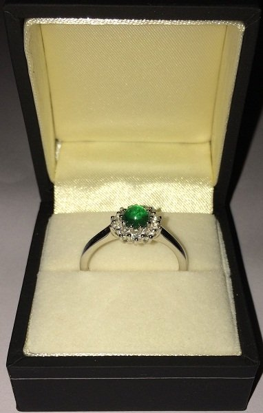 Emerald white topaz ring