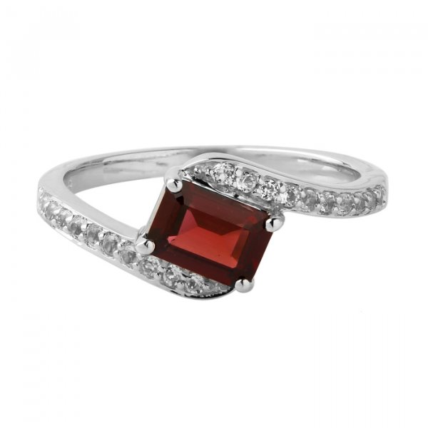 Garnet octagon solitaire ring