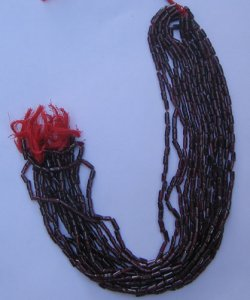 Garnet plain long tube gem beads