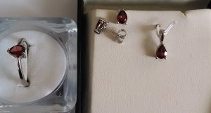 Garnet Ring,Earring,Pendant Set