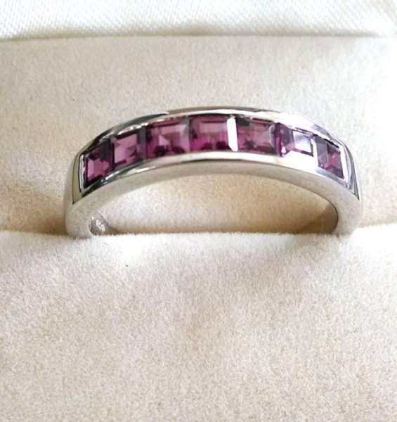 Garnet square channel ring
