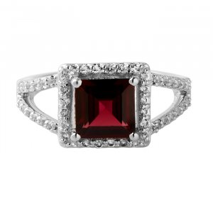 Garnet square solitaire ring