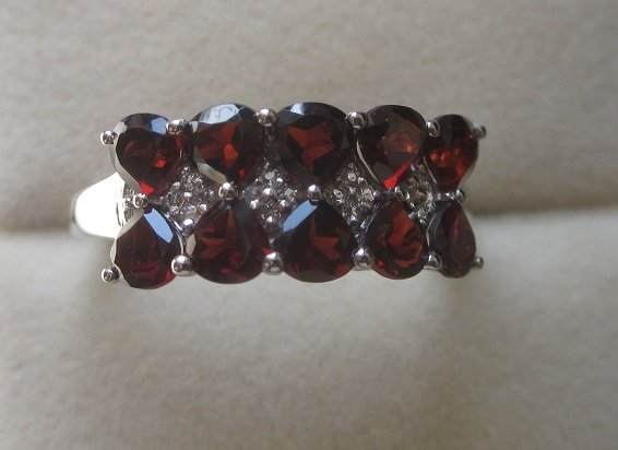 Garnet white topaz 925 ring