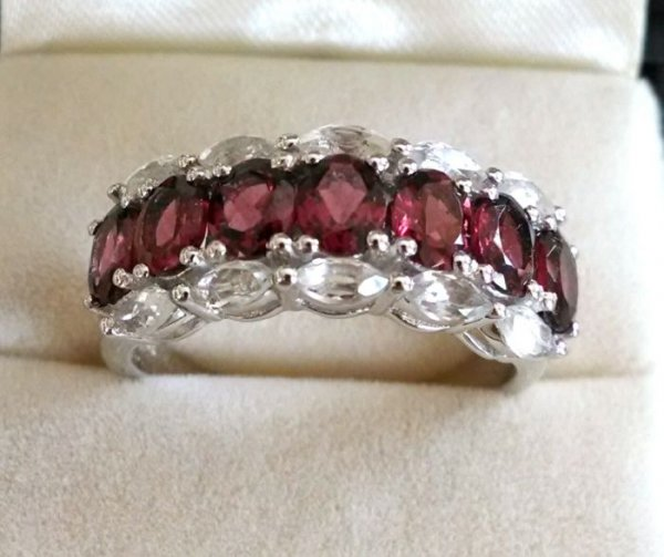 Garnet, white topaz band