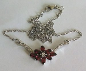 Garnet, white topaz flower necklace