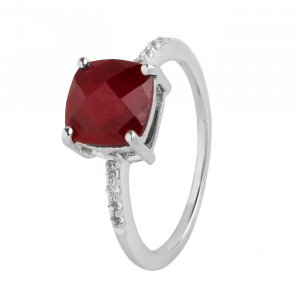 Ruby checkerboard cut ring