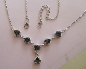 Gold Necklace With London blue topaz