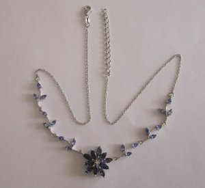 Gold Necklace With Tanzanite iolite, white topaz