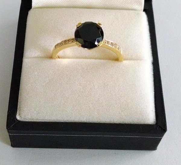 Gold plated black spinel ring