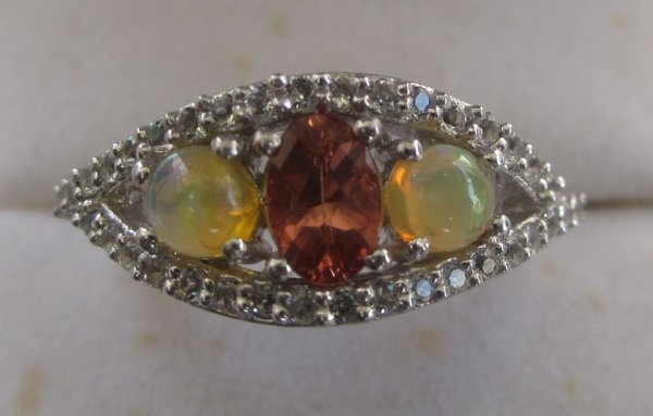 Gold Ring opal and topaz