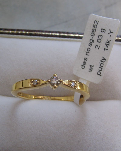 9k Gold Ring With Diamonds