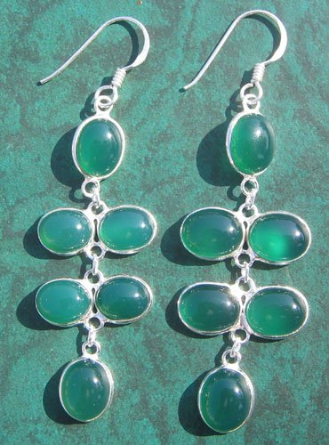 Green Onyx Silver Earring