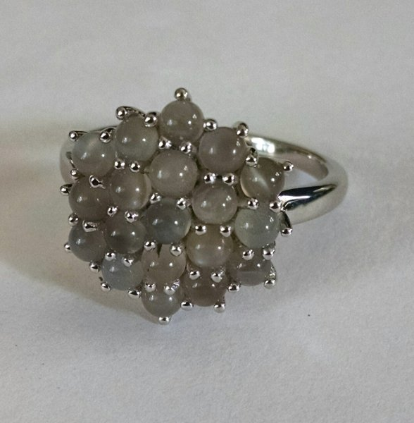 Grey moonstone cluster ring