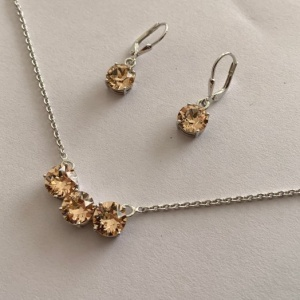 Swarovski 925 silver necklace earring set