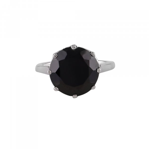 Black Spinel Crown Solitaire 925 Silver