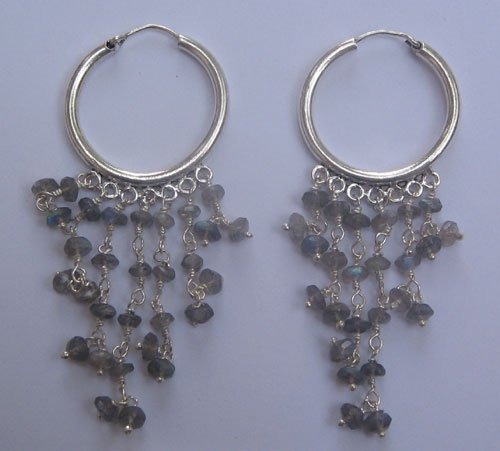 Labdrorite faceted rhondelle earring