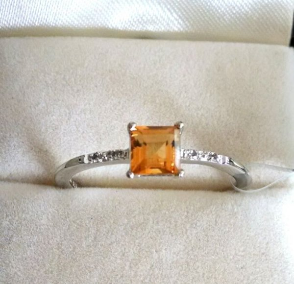 Light weight citrine square ring
