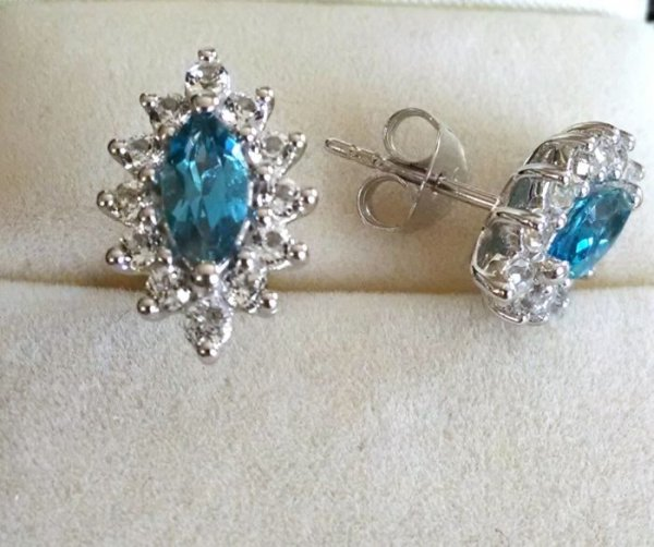 Marquise blue topaz earrings
