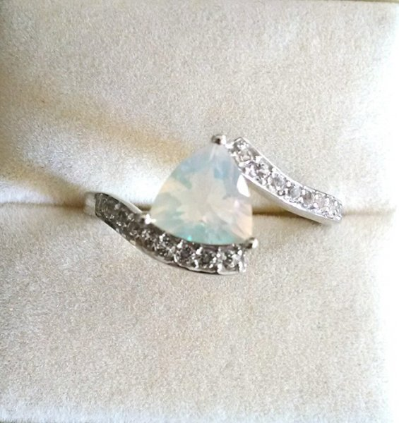 Ethopian Opal triangle solitaire ring