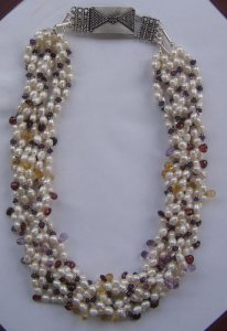 Pearl,amethyst,citrine & garnet bead necklace.