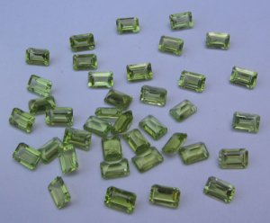 Peridot 6x4 octagon cut/faceted gem stone