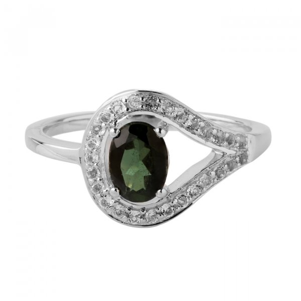 Peridot oval solitaire ring