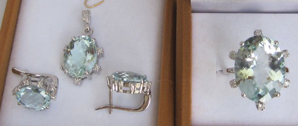 R+E+P Set With Diamonds & Aquamarine