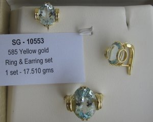 Ring earring Set With Aquamarine