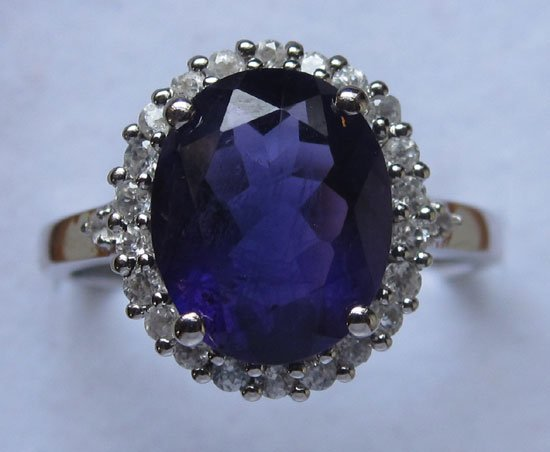 Ring With Amethyst cz,  Diamond