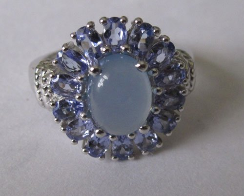 Ring WithTanzanite and blue chalcedony