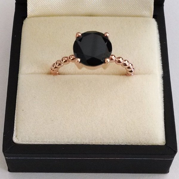 Rose gold plated black spinel ring