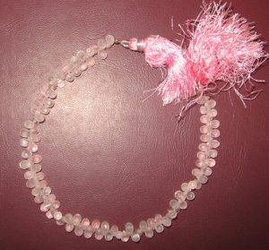 Rose quartz faceted drop beads