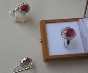 Ruby Diamonds earring ring set