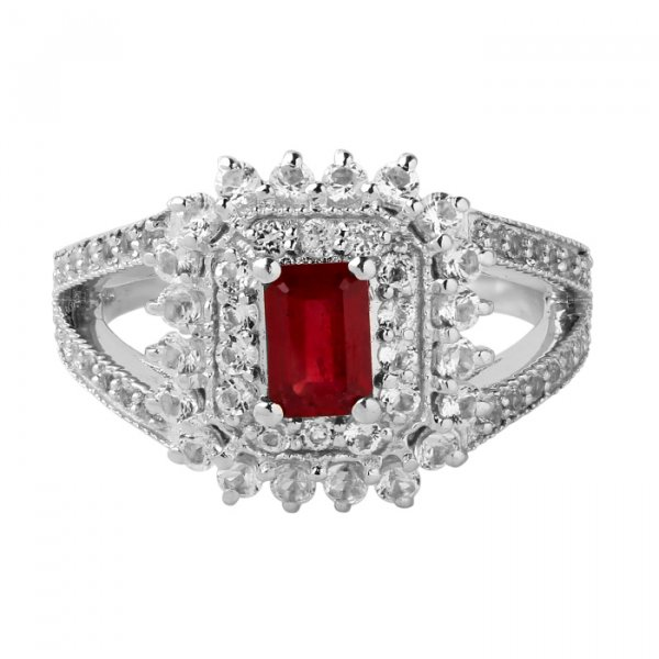 Ruby octagon solitaire ring
