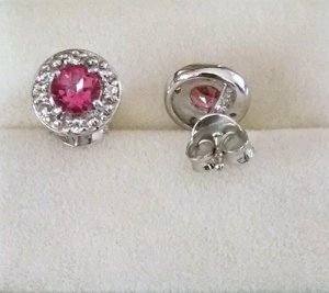 Ruby, White topaz Earrings