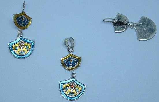 Silver set with enamel work