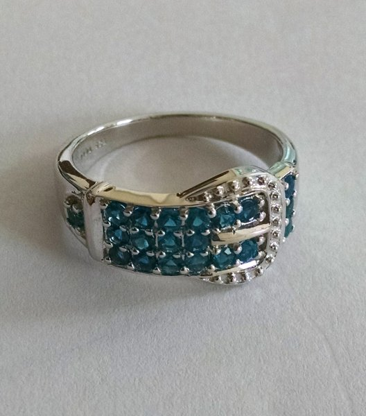 Sky Blue topaz buckle design ring