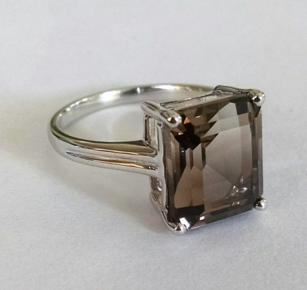Smoky quartz octagon solitaire ring