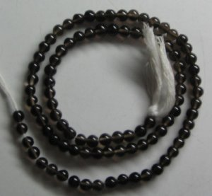 Smoky quartz plain round beads 4mm