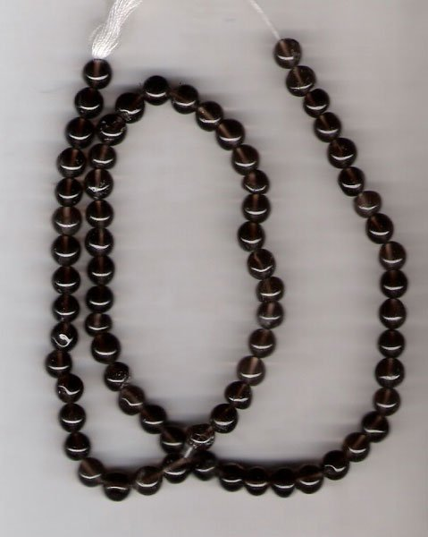 Smoky quartz rd bead 5mm
