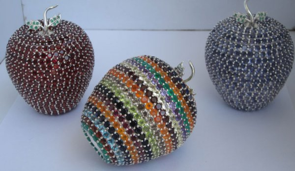 Sterling silver Apple studded stones