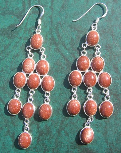 Sunstone Silver Earring