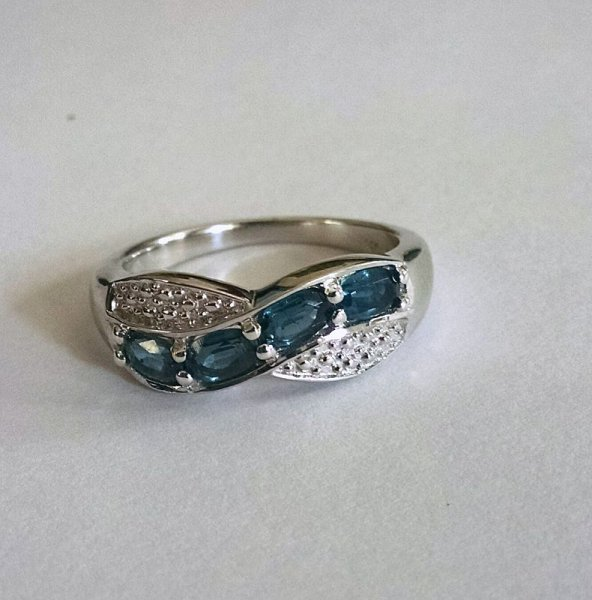 Swiss Blue topaz oval ring