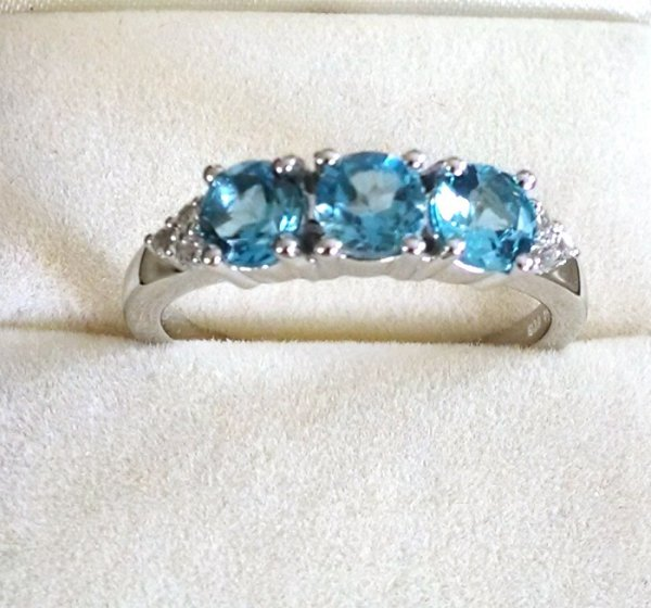 swiss Blue topaz trilogy ring