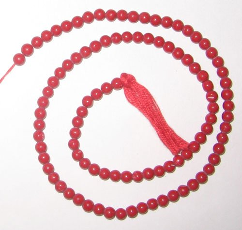 Syn. red coral plain round beads 4mm