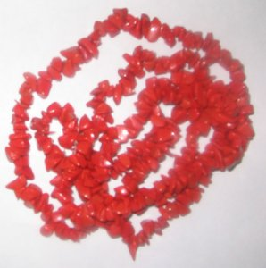 Syn.red coral chip gem beads.