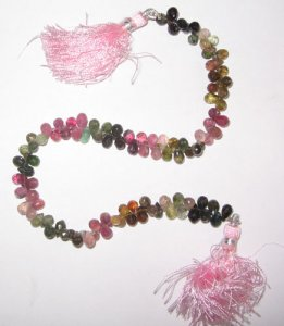 Turmaline faceted drop beads