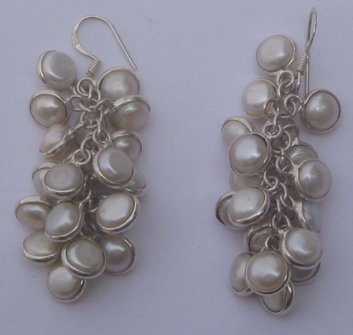 White pearl silver ear ring